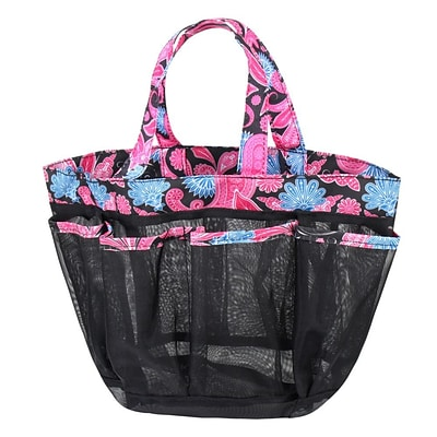 Zodaca Lightweight Mesh Shower Caddie Bag Quick Dry Bath Organizer Carry Tote Bag for Gym Camping - Pink Paisley