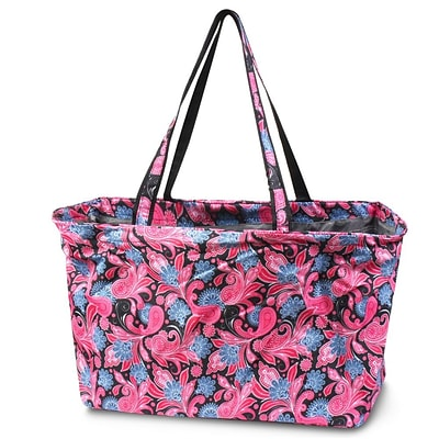 Zodaca All Purpose Large Utility Handbag Laundry Shopping Travel Tote Carry Shoulder Bag - Pink/Black Paisley