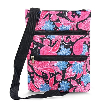 Zodaca Women Small Messenger Cross Body Zipper Shoulder Bag - Pink Paisley