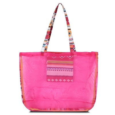 Zodaca Waterproof Beach Mesh Picnic HandBag Shoulder Tote Carry Bag for Shopping Outdoor Activity - Pink Aztec with Green