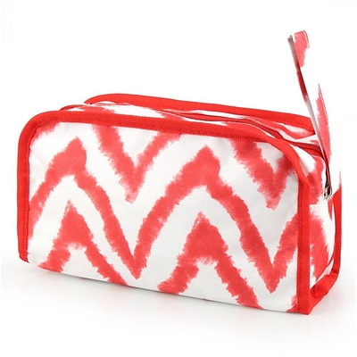 Zodaca Women Travel Pencil Case Cosmetic Makeup Storage Organizer Bag Toiletry Zip Pouch w/Wrist Handle - Red/White