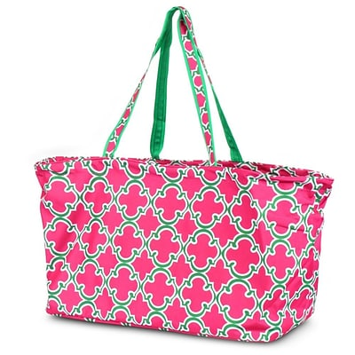 Zodaca Large All Purpose Stylish Open Top Handbag Laundry Shopping Utility Tote Carry Bag - Quatrefoil Pink