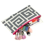 Zodaca Pencil Case Toiletry Holder Cosmetic Bag Travel Makeup Zip Storage Organizer - Greek Key Gray