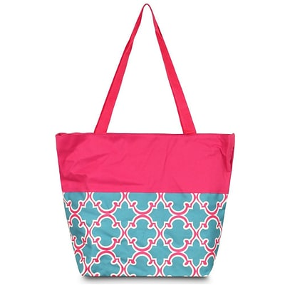 Zodaca Large All Purpose Lightweight Handbag Shopping Travel Tote Carry Shoulder Zipper Bag - Blue Quatrefoil