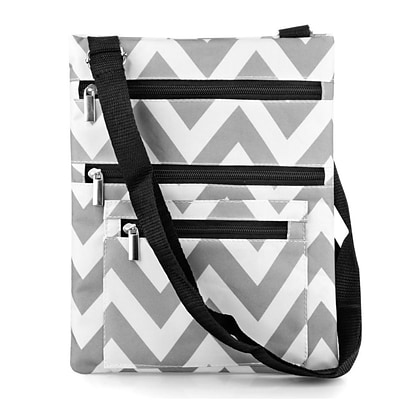Zodaca Lightweight Padded Shoulder Cross Body Bag Messenger Travel Camping Zipper Bag - Gray/White Chevron