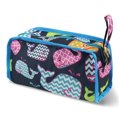 Zodaca Travel Cosmetic Makeup Case Bag Pouch Toiletry Zip Organizer - Multicolor Whale