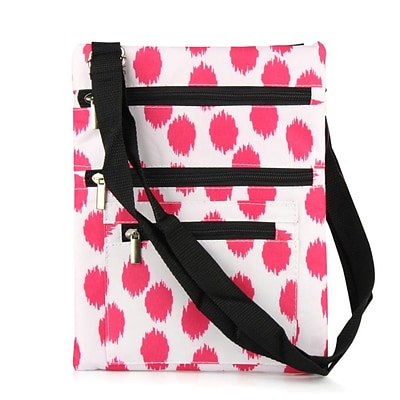 Zodaca Lightweight Padded Shoulder Cross Body Bag Messenger Travel Camping Zipper Bag - Pink Dot with Black Trim