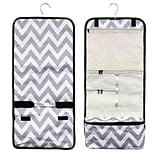 Zodaca Travel Hanging Cosmetic Carry Bag Toiletry Wash Organizer Storage - Gray/White Chevron