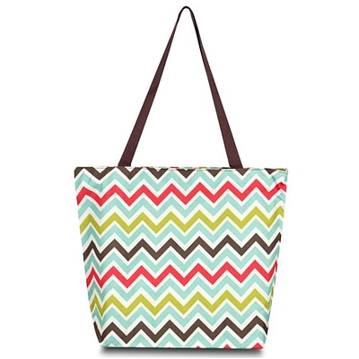 Zodaca Large All Purpose Lightweight Handbag Shopping Travel Tote Carry Shoulder Zipper Bag - Multicolor Chevron