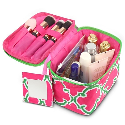 Zodaca Lightweight Makeup Travel Cosmetic Bag Case Multifunction Pouch Toiletry Zip Wash Organizer - Pink Quatrefoil