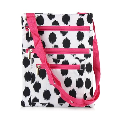 Zodaca Lightweight Padded Shoulder Cross Body Bag Messenger Travel Camping Zipper Bag - Black Dots with Pink Trim