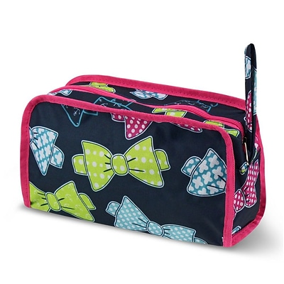 Zodaca Travel Cosmetic Makeup Case Bag Pouch Toiletry Zip Organizer - Multicolor Bows