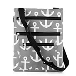 Zodaca Lightweight Padded Shoulder Cross Body Bag Messenger Travel Camping Zipper Bag - Gray Anchors