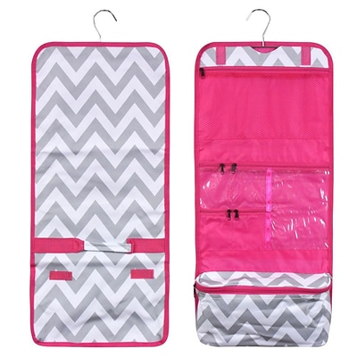 Zodaca Travel Hanging Cosmetic Carry Bag Toiletry Wash Organizer Storage - White/Gray Chevron with Pink Trim