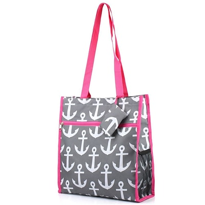 Zodaca Lightweight All Purpose Handbag Zipper Carry Tote Shoulder Bag for Travel Shopping - Gray Anchors with Pink Trim