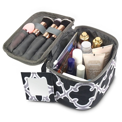 Zodaca Lightweight Makeup Travel Cosmetic Bag Case Multifunction Pouch Toiletry Zip Wash Organizer - Black Quatrefoil