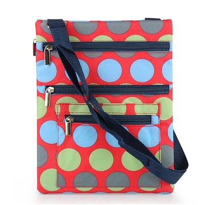 Zodaca Lightweight Padded Shoulder Cross Body Bag Messenger Travel Camping Zipper Bag - Multicolor Dots on Red