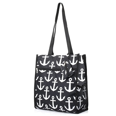 Zodaca Lightweight All Purpose Handbag Zipper Carry Tote Shoulder Bag for Travel Shopping - Anchors with Black Trim