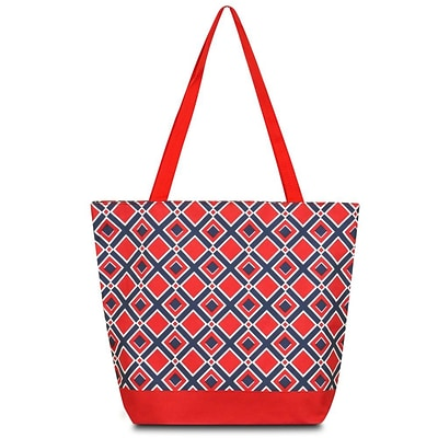 Zodaca Large All Purpose Lightweight Handbag Shopping Travel Tote Carry Shoulder Zipper Bag - Navy/Red Times Square