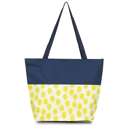 Zodaca Lightweight Large All Purpose Handbag Travel Shopping Zipper Carry Tote Shoulder Bag - Yellow Dots with Blue Trim