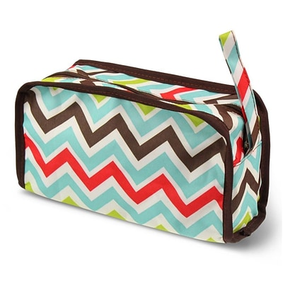 Zodaca Travel Cosmetic Makeup Case Bag Pouch Toiletry Zip Organizer - Multicolor Chevron