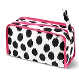 Zodaca Travel Cosmetic Makeup Case Bag Pouch Toiletry Zip Organizer - Black Dots with Pink Trim