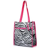 Zodaca Lightweight All Purpose Handbag Zipper Carry Tote Shoulder Bag for Travel Shopping - Zebra Pi
