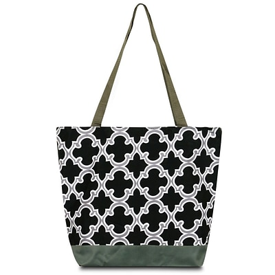 Zodaca Large All Purpose Lightweight Handbag Shopping Travel Tote Carry Shoulder Zipper Bag - Black Quatrefoil