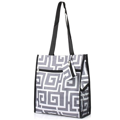 Zodaca Lightweight All Purpose Handbag Zipper Carry Tote Shoulder Bag for Travel Shopping - Greek Key Gray with Black