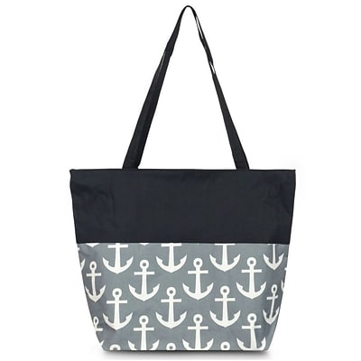 Zodaca Large All Purpose Handbag Shopping Travel Tote Carry Shoulder Zipper Bag - Gray Anchors with Black Trim