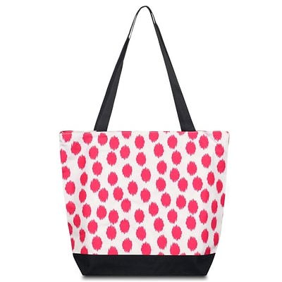 Zodaca Lightweight Large All Purpose Handbag Travel Shopping Zipper Carry Tote Shoulder Bag - Pink Dots with Black Trim