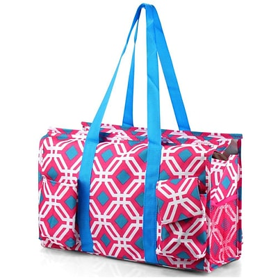 Zodaca Lightweight All Purpose Handbag Large Utility Shoulder Tote Carry Bag for Camping Travel Shopping - Pink Graphic