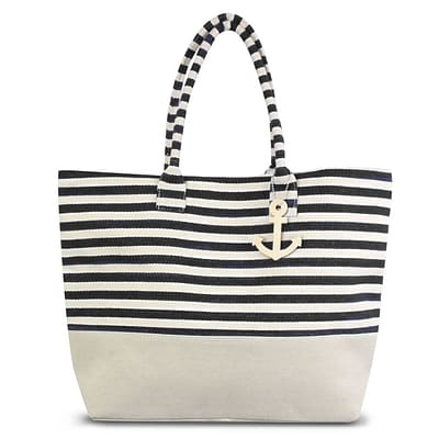Zodaca Stripes Women Handbag Ladies Large Shoulder Tote Purse Messenger Bag (Size: 22 L x 6 D x 15.5 H) - Black/White