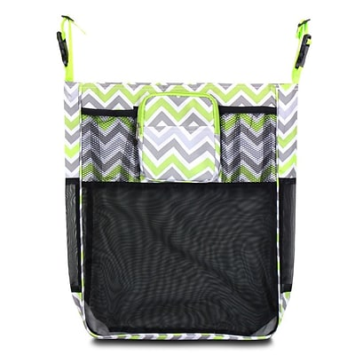 Zodaca Baby Cart Strollers Bag Buggy Pushchair Organizer Basket Storage Bag for Walk Shopping - Gray/Green Chevron