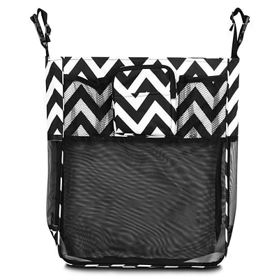 Zodaca Baby Cart Strollers Bag Buggy Pushchair Organizer Basket Storage Bag for Walk Shopping - Black/White Chevron