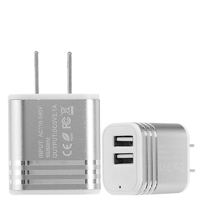 Insten 2-Port USB Quick Charge 2.1A Dual Ports Home Travel AC Wall Charger For Cell Phone Tablet - Silver