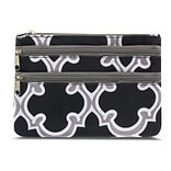 Zodaca Women Coin Purse Wallet Zipper Pouch Bag Card Holder Case - Black Quatrefoil
