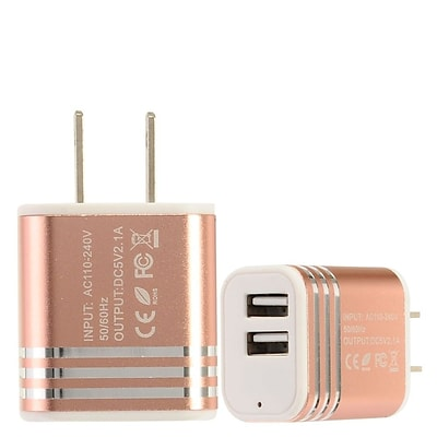 Insten 2-Port USB Quick Charge 2.1A Dual Ports Home Travel AC Wall Charger For Cell Phone Tablet - Rose Gold