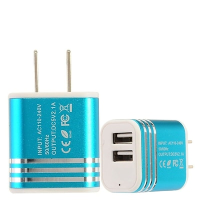 Insten 2-Port USB Quick Charge 2.1A Dual Ports Home Travel AC Wall Charger For Cell Phone Tablet - Blue