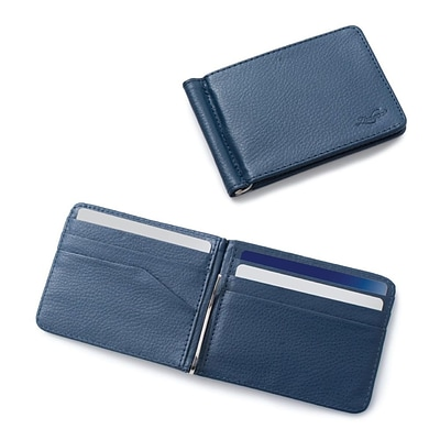 Zodaca Stylish Mens Slim Leather Bifold Wallet Purse Credit Card Holder Case with Removable Money Clip - Dark Blue
