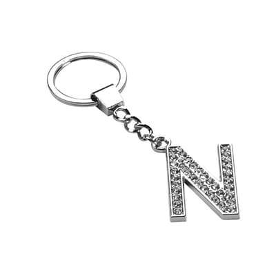 Insten Glamorous Alphabet Patterned Letter N Keychain with White Crystals