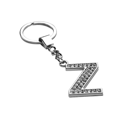 Insten Glamorous Alphabet Patterned Letter Z Keychain with White Crystals
