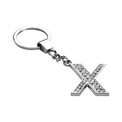 Insten Glamorous Alphabet Patterned Letter X Keychain with White Crystals