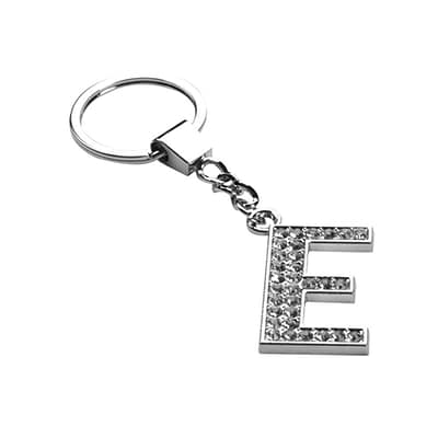 Insten Glamorous Alphabet Patterned Letter E Keychain with White Crystals