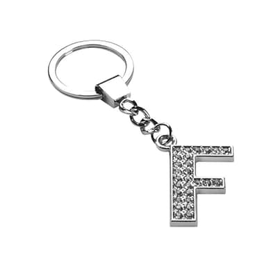 Insten Glamorous Alphabet Patterned Letter F Keychain with White Crystals