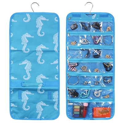 Zodaca Jewelry Hanging Travel Organizer Roll Bag Necklace Storage Holder - Blue Seahorse