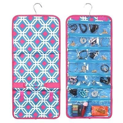 Zodaca Jewelry Hanging Travel Organizer Roll Bag Necklace Storage Holder - Blue Graphic