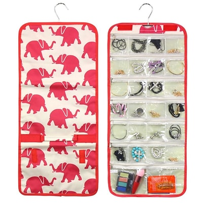 Zodaca Multi-Functional Jewelry Hanging Travel Business Trip Camping Organizer Carry Roll Bag - Elephant