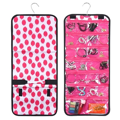 Zodaca Jewelry Hanging Travel Organizer Roll Bag Necklace Storage Holder - Pink Dots with Pink Trim