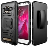 Insten Hard Hybrid Rubberized Silicone Case w/stand/Holster For Motorola Moto Z2 Force/Z2 Play - Bla
